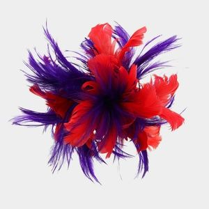 Purple & Red Feather Fascinator Dressy Church Hat